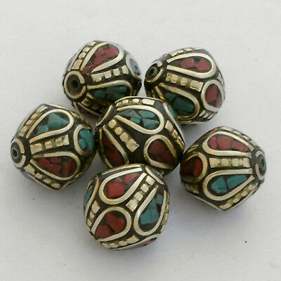 Turquoise Coral Brass 6 Beads Nepalese Tibetan Handmade Tibet Nepal UB2466A