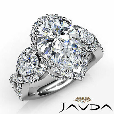 5.7ctw. 3 Stone Halo Micro Pave Set Cross Shank Pear Diamond Engagement Ring