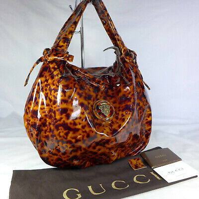 Authentic Gucci Hysteria Tortoise Shell Patent Leather Medium Shoulder Hobo Bag