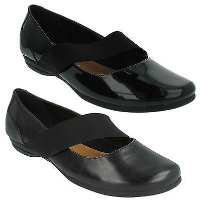 Discovery Ritz Damen Clarks Slipper Leder Patent Mary Jane-Stil Flache Schuhe Patent Mary Jane Schuhe