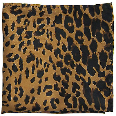 New Men's Polyester Woven leopard pocket square hankie only brown formal party