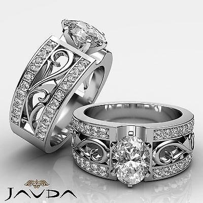 Filigree Design Leaf Motif Oval Diamond Engagement Ring GIA F Color VS2 1.55 Ct