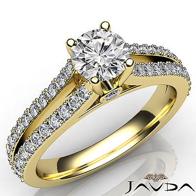 French Pave Set Split Shank Round Diamond Engagement Ring GIA G Color SI1 1.36Ct