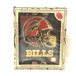 Buffalo Bills NFL Clear Lacquer Finish Graphic Quartz Wall Clock 10 x 12 New