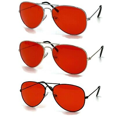 70's Glasses Red Tint Lens Aviator Sunglasses Pilot Classic Silver Metal (Red Aviators)
