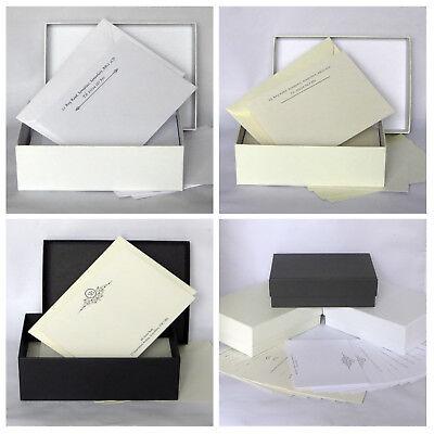Correspondence Envelopes - Gift Box Set 50 Personalised Correspondence Cards & Envelopes Notecard Thank You