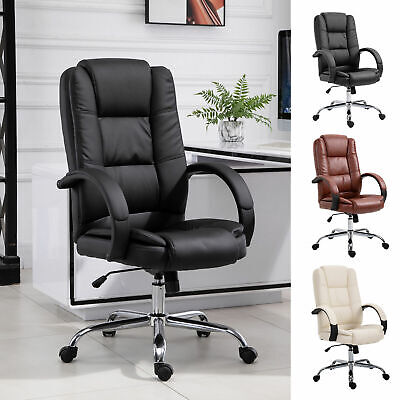 Back Office Chair Ergonomic Adjustable 360 Swivel Pu Leather Executive High