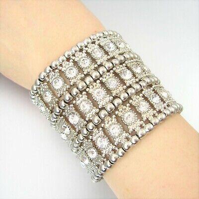 Faceted Rhinestone Metal Beads Charm Stretch Fashion Bracelet - Charm Stretch Bracelet
