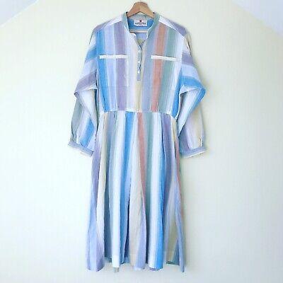 Original Vintage 1970s Horrockses Cotton Shirt Dress. Size 14-16. Autumn.