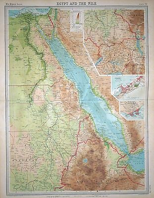 1920 LARGE MAP ~ EGYPT & THE NILE INSET ALEXANDRIA & AIDEN ~ 23