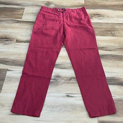 INCOTEX Chinolino Mens Linen Blend Chino Red Pants Size 36 Classic Fit 34 x 31