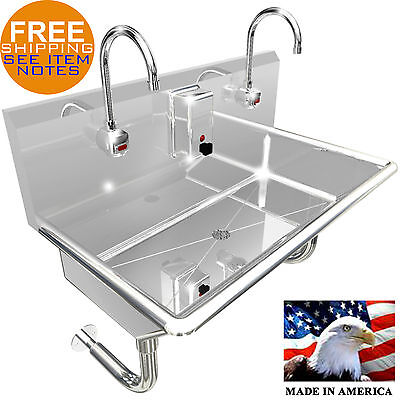 2 Station 36 Wash Up Sink Hands Free Heavy Duty 304 Stainless Steel Ele. Faucet