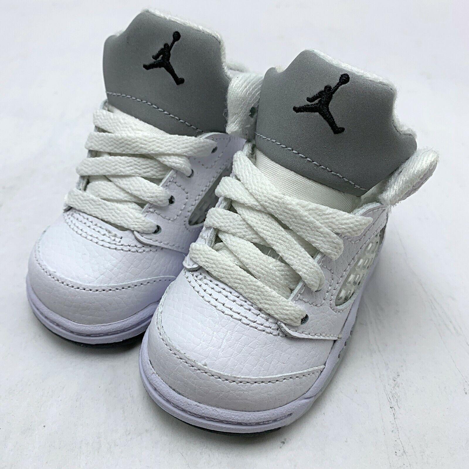 Nike Jordan 5 Retro BT Baby Shoes White/Black-Metallic Silver size 2c 440890-130