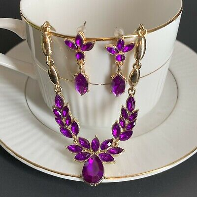 Jewelry SET Purple Amethyst Rhinestones Earrings Necklace SPARKLE Gold -
