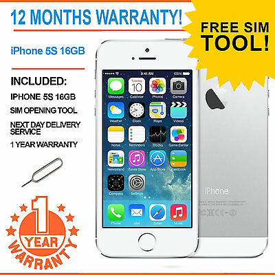 Apple iPhone 5s 16GB Factory Unlocked - White / Silver - ADD YOUR FREE SIM!