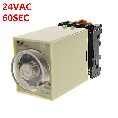 24vacdc 0-60 Seconds Power Off Delay Time Relay With Socket Base Pf083a