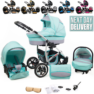 Baby Pram Buggy Set Car Seat 3 in 1 Travel System Pushchair Stroller FREEBIES