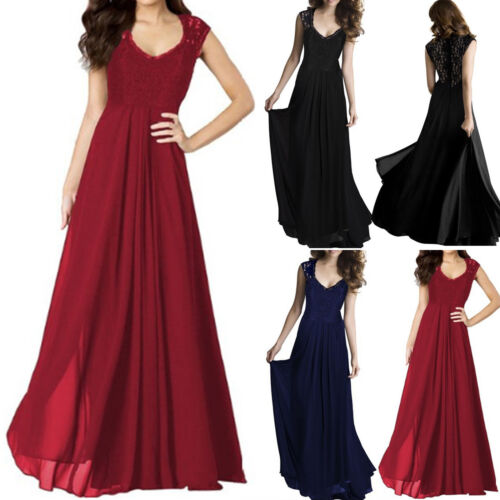 Dress - Women Chiffon Formal Party Prom Lace Evening Gown Ballgown Bridesmaid Long Dress