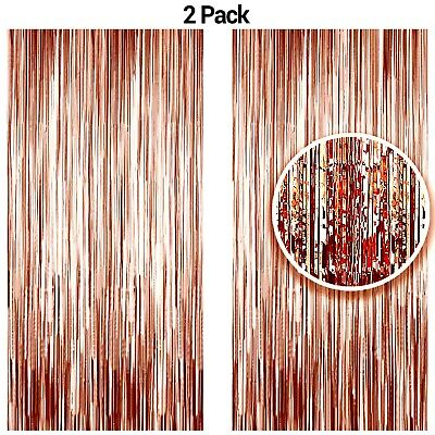 Rose Gold Metallic Tinsel Foil Fringe Curtains Party Photo Booth Props Backdrop](Gold Metallic Fringe Curtain)