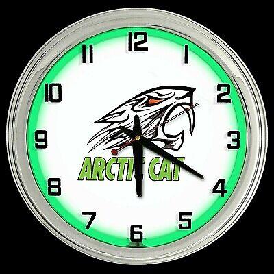 "16"" Arctic Cat Sign Green Neon Clock Snowmobile Off Road Racing"