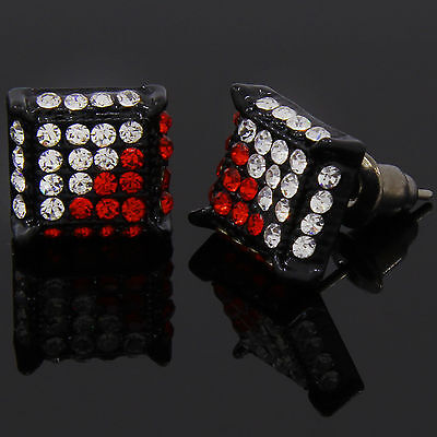 Mens Black Red Cz Cube Hip Hop Micro Pave Stud Earrings  Red Mens Earring