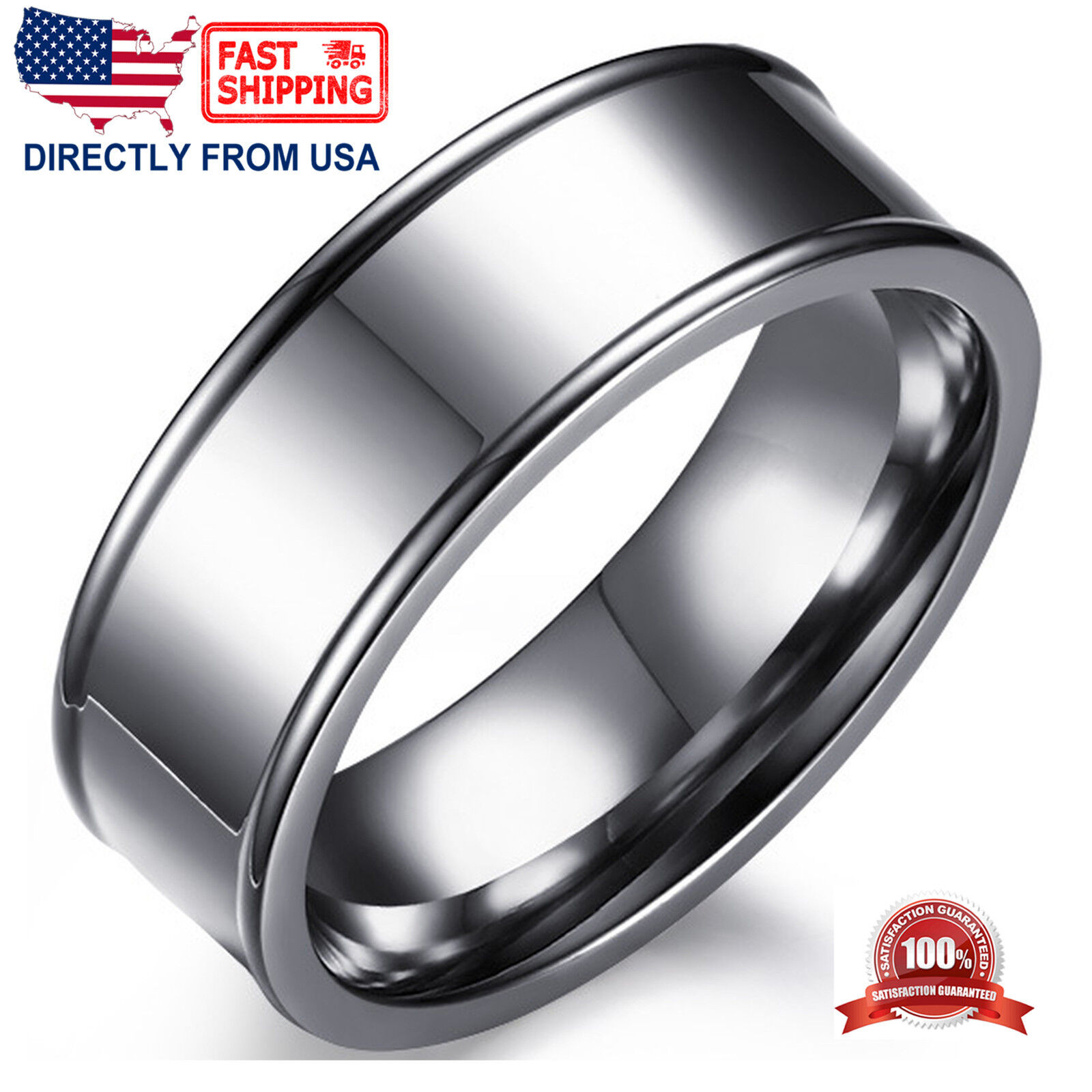 Men's Ring, Stainless Steel Silver Color 7mm Wedding Band, Comfort Fit Jewelry & Watches