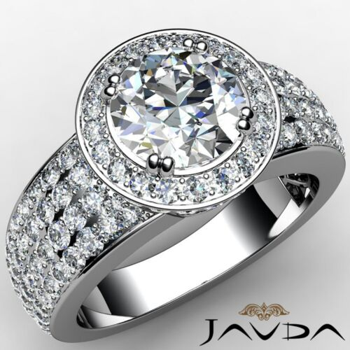 Beautiful Round Diamond Engagement 4 Row Ring GIA F SI1 14k White Gold 3.03ct