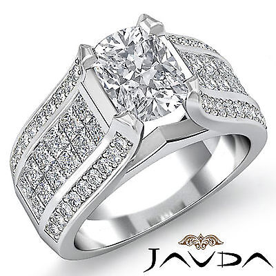 Women's Cushion Diamond Engagement Prong Invisible Setting Ring GIA H SI1 2.7Ct