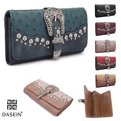 New Dasein Women Trifold Ostrich Leather Wallet Card Bag Checkbook Flip Purse