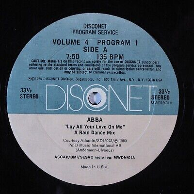 "DISCONET 12"" Vol 4 Prog 1 ABBA Lay All Your Love On Me (dj Only Mix) RARE!"