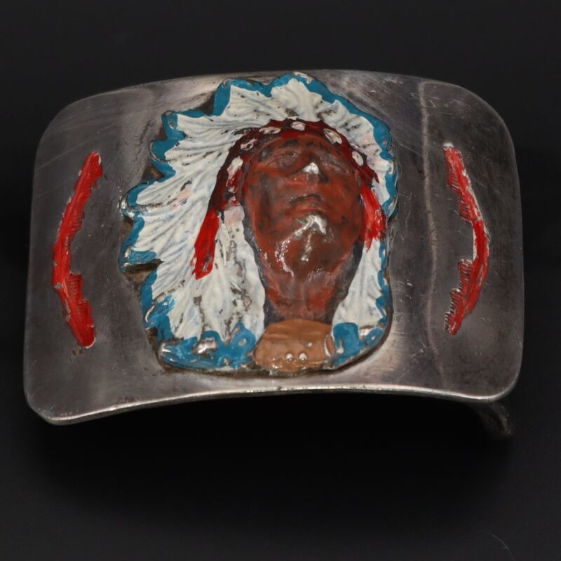 """Sterling Silver 1950s NAVAJO EP Hand Painted Indian Chief 1.5"""" Belt Buckle - 53g"""