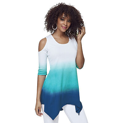 K Jordan Cold Shoulder Shark Bite Top Oceanspray L Green