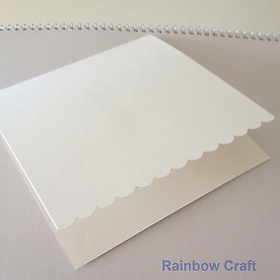 10 blank Cards & Envelopes SQUARE or C6 (9 Colors) - Scallop Wedding Invitation - Sq White
