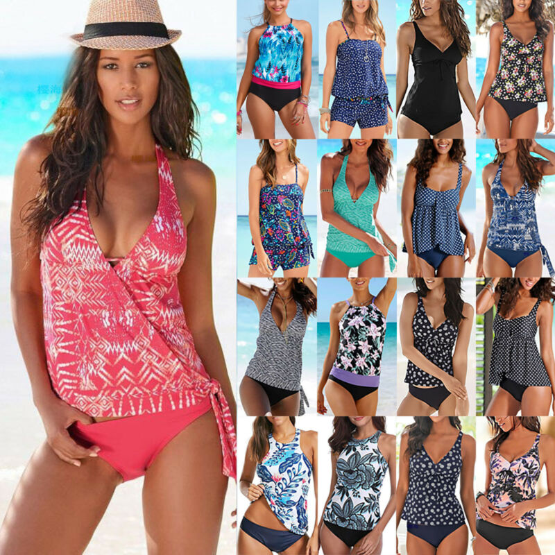 Damen Sport Tankini Set Bikini Push Up Badeanzug Strand Bademode Schwimmanzug DE
