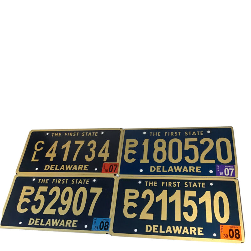 DELAWARE (The First State) LICENSE PLATES 2007 & 2008 LOT OF 4 COLLECTIBLE