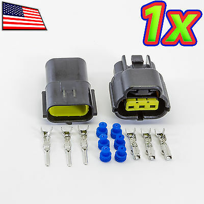 1x Denso 1x3p 3 Pin Waterproof 16-20awg Rugged Automotive Connector Ip67