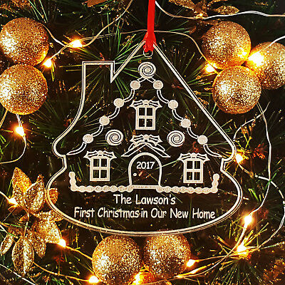Personalised First Christmas In New Home Gingerbread House Bauble