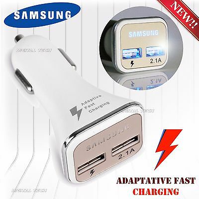 FAST CHARGER SAMSUNG LED CAR DUAL USB S6 Note 2 4 5 Port Adaptive RAPID Charging
