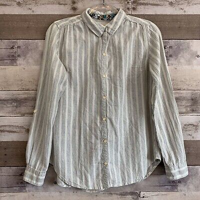 Isabella Sinclair Anthro Size Small Striped Lace Button Up Shirt Altay Top image