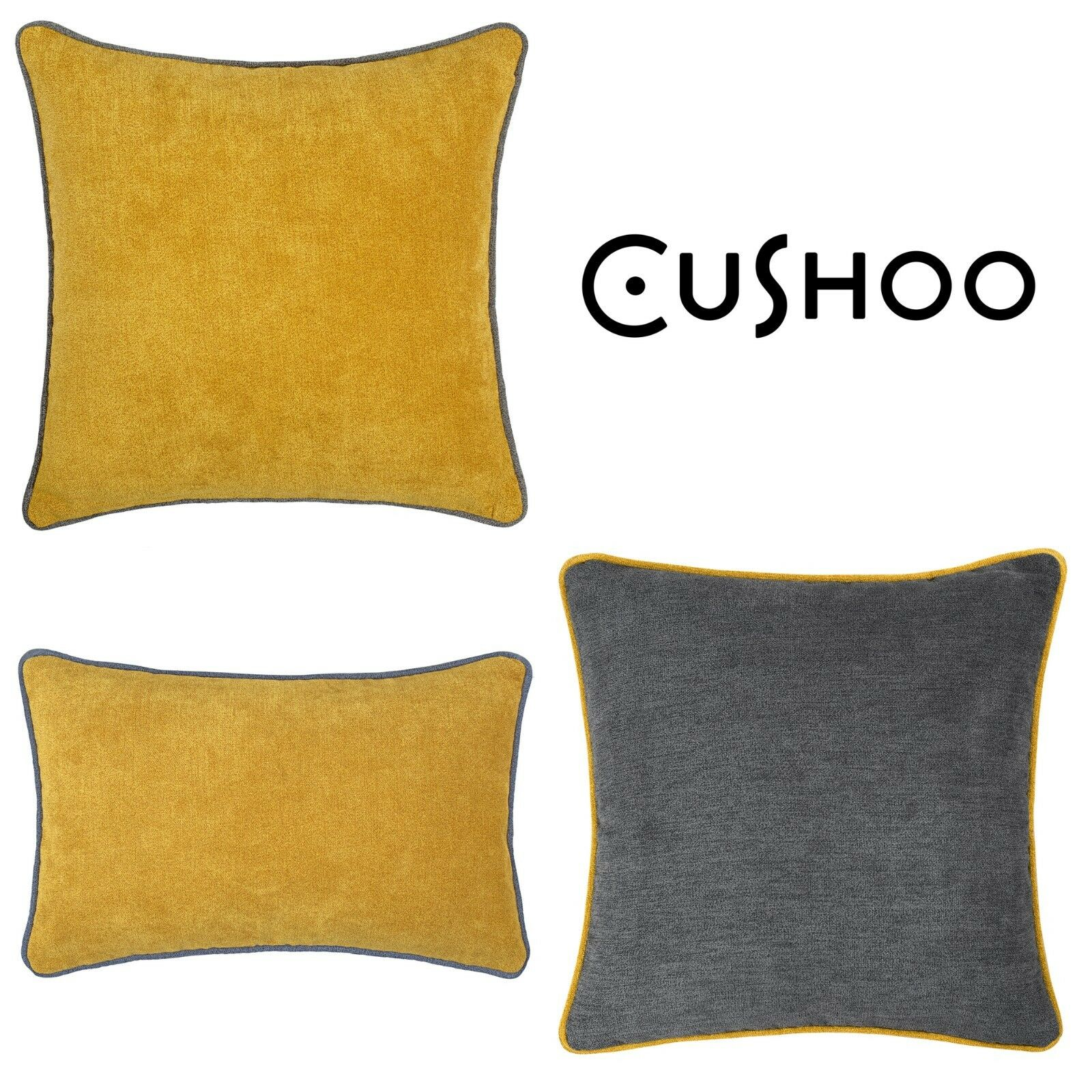Mustard Yellow Cushion Dark Grey Piping Oblong Sofa Throw To