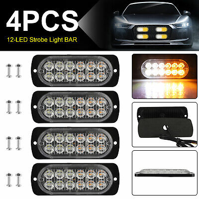 4X 12LED Strobe Lights Bar Emergency Flashing Warning Hazard Beacon Amber/White