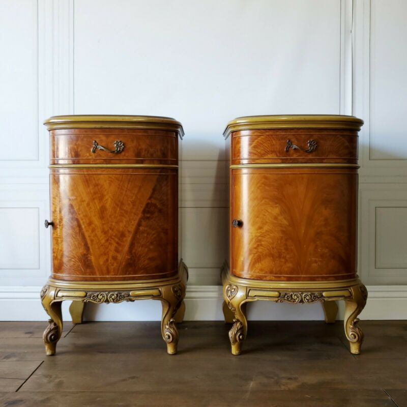 Custom Finish Option! Antique French Provincial Nightstands Louis Pair Glam