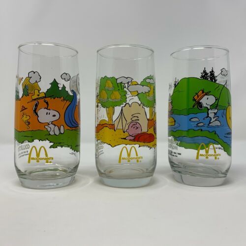 Vintage McDonalds Peanuts Camp Snoopy Glasses Set of 3 Charlie Brown