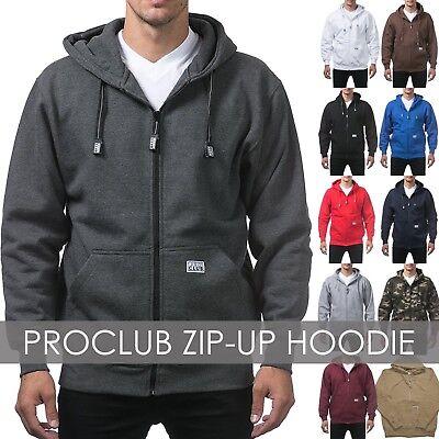 Proclub Mens ZIP HOODIE Heavyweight Sweatshirts Fleece Sweatshirt S-5XL Big 5 Zip Hoodie