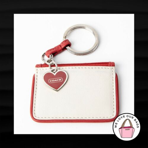 SUPER RARE! COACH RED HEART SMALL 3″ COIN PURSE LEATHER KEY FOB BAG KEYCHAIN