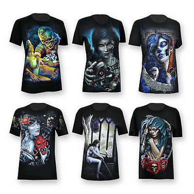 c1819353cc13b6 T-Shirt Damen Shirt La Catrina Totenkopf Skull Tattoo Skelett Gothic Angel  Blood ...