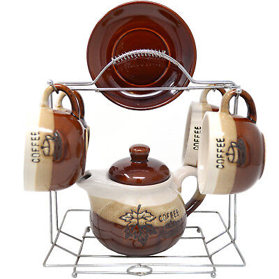 10PC CUP AND SAUCER TEA POT SET WITH STAND ESPRESSO COFFEE SHOT KITCHEN PARTY