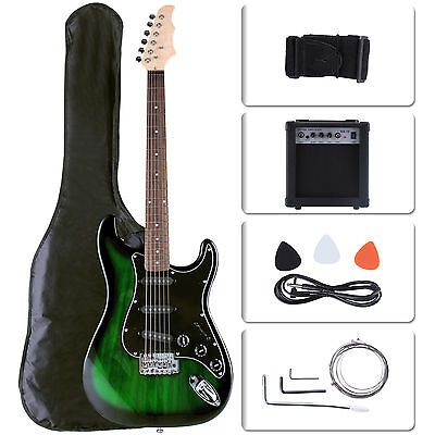 Electric Guitar 15W Amp Strap Cord Gigbag Beginner Pack Accessories Green