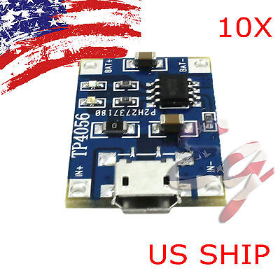 10pcs 5V Micro USB 1A 18650 Lithium Battery Charging Board Charger Module TP4056