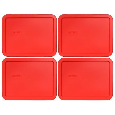 Pyrex 7211-PC Rectangle 6 Cup 1.5L Red Storage Lid 4 Pack New for Glass Dish 6 Cup Rectangle Storage